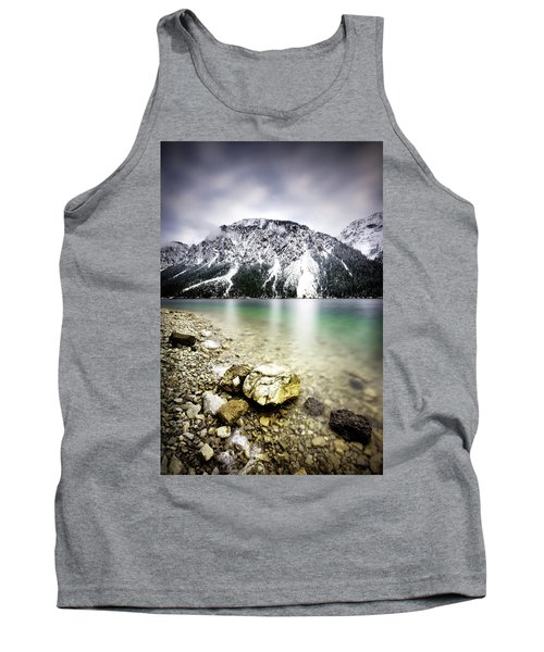 Landscape Of Plansee Lake And Alps Mountains During Winter, Snowy View, Tyrol, Austria. Tank Top