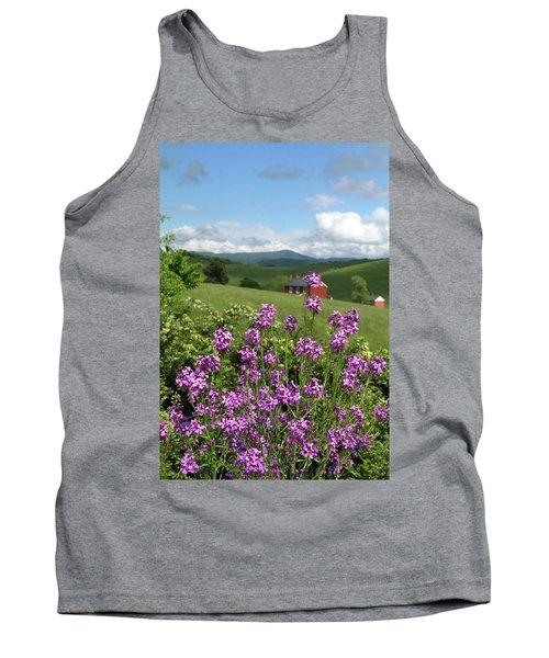 Landscape With Purple Flowers Tank Top by Emanuel Tanjala