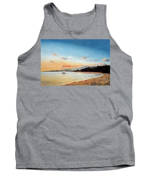 Tank Top featuring the painting Late Sunset Along The Beach by Christopher Shellhammer