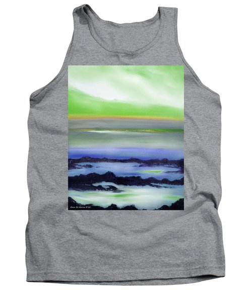 Lava Rock Abstract Sunset In Blue And Green Tank Top