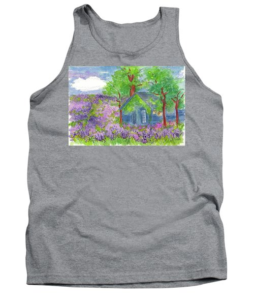 Tank Top featuring the painting Lavender Fields by Cathie Richardson
