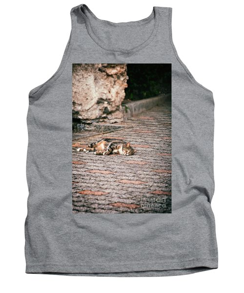 Tank Top featuring the photograph Lazy Cat    by Silvia Ganora