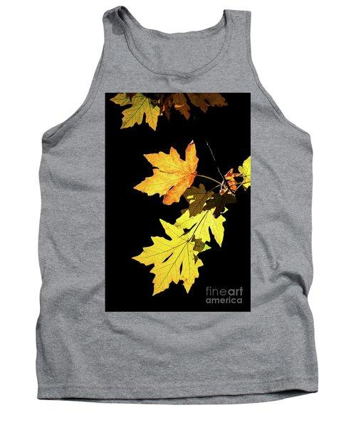 Leaves On Black Tank Top