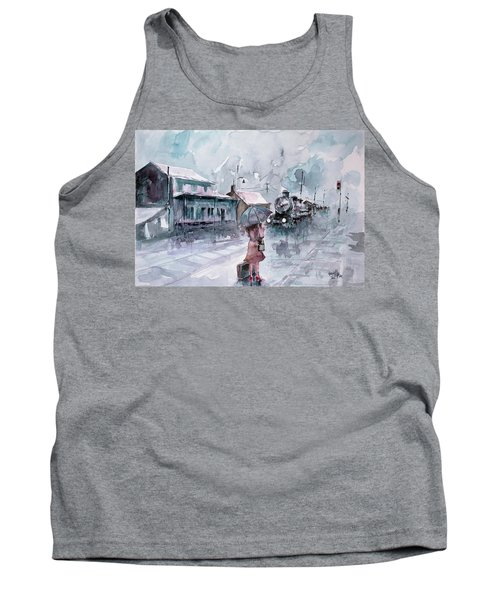 Tank Top featuring the painting Leaving... by Faruk Koksal