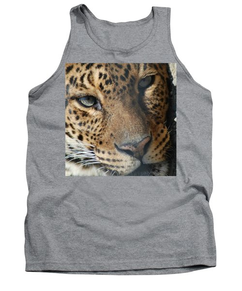Tank Top featuring the photograph Leopard Face by Richard Bryce and Family