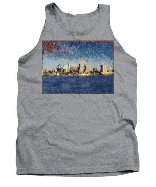 Tank Top featuring the mixed media Less Wacky Philly Skyline by Trish Tritz