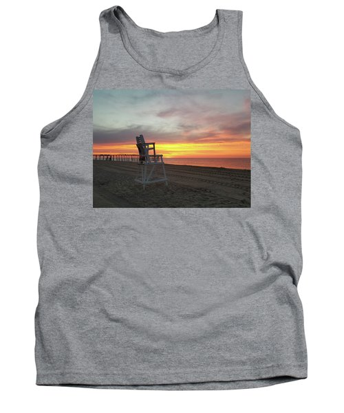 Lifeguard Stand On The Beach At Sunrise Tank Top