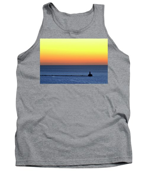 Lighthouse At Sunrise On Lake Michigan Tank Top by Zawhaus Photography