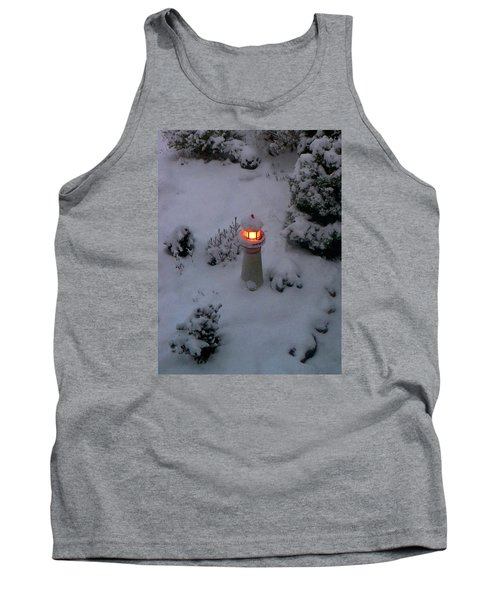 Tank Top featuring the photograph Lighthouse In The Snow by Kathryn Meyer