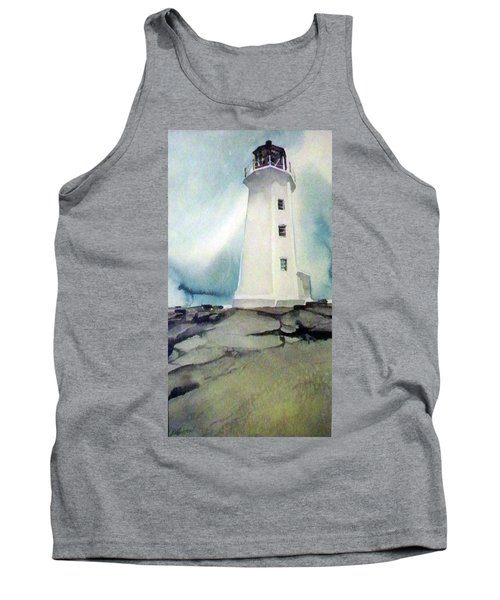 Tank Top featuring the painting Lighthouse Rock by Ed Heaton