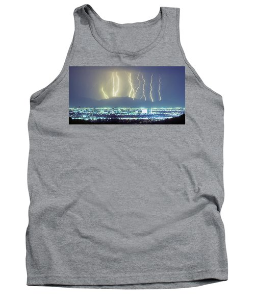 Tank Top featuring the photograph Lightning Over Phoenix Arizona Panorama by James BO Insogna