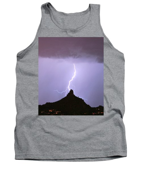 Lightning Striking Pinnacle Peak Scottsdale Az Tank Top