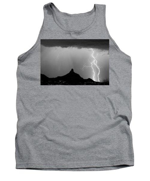 Lightning Thunderstorm At Pinnacle Peak Bw Tank Top
