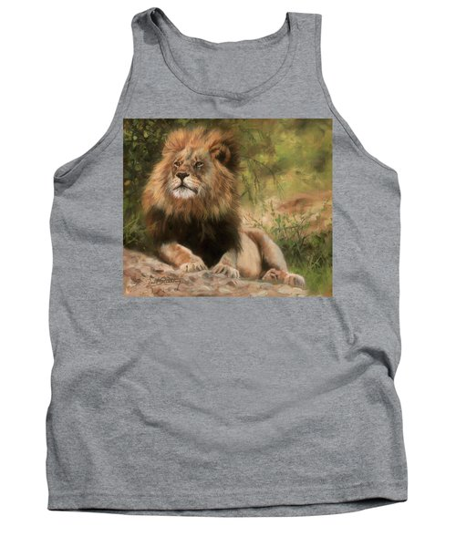 Tank Top featuring the painting Lion Resting by David Stribbling