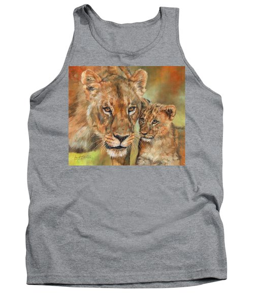 Tank Top featuring the painting Lioness And Cub by David Stribbling