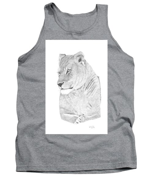 Tank Top featuring the drawing Lioness by Patricia Hiltz