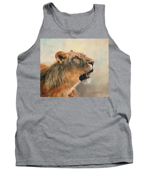 Tank Top featuring the painting Lioness Portrait 2 by David Stribbling