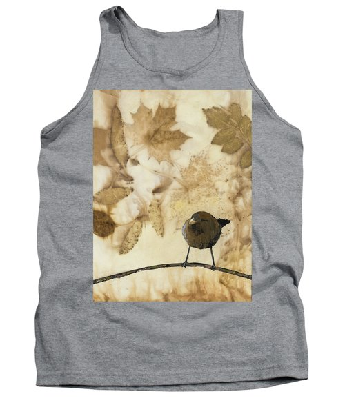 Little Bird On Silk With Leaves Tank Top by Carolyn Doe