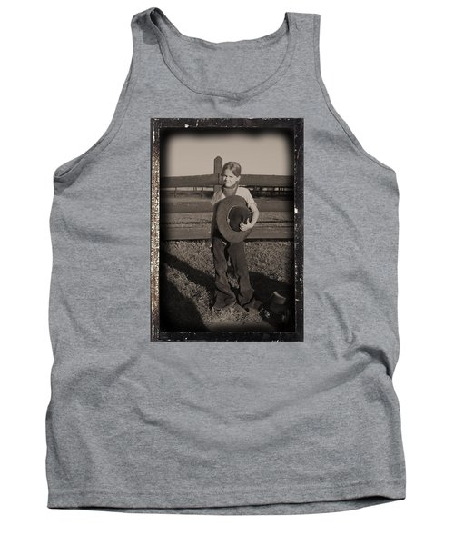 Little Cowgirl, Big Hat Tank Top by Traci Goebel