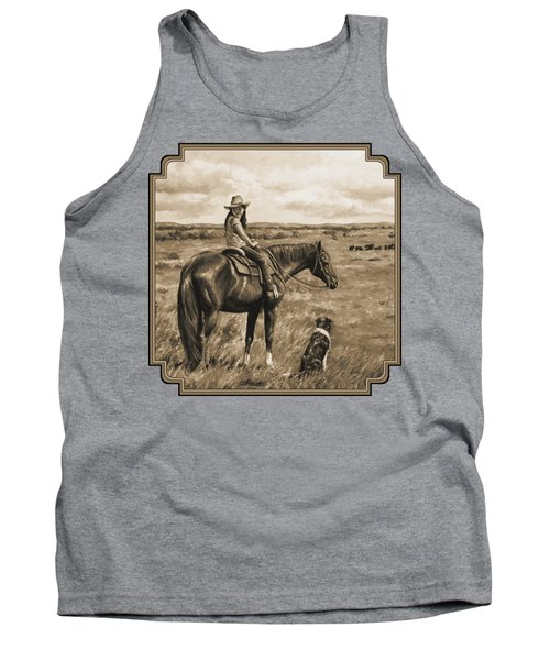 Little Cowgirl On Cattle Horse In Sepia Tank Top