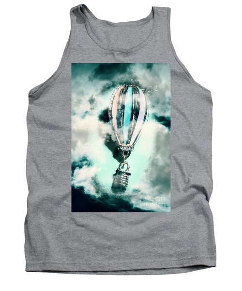 Little Hot Air Balloon Pendant And Clouds Tank Top