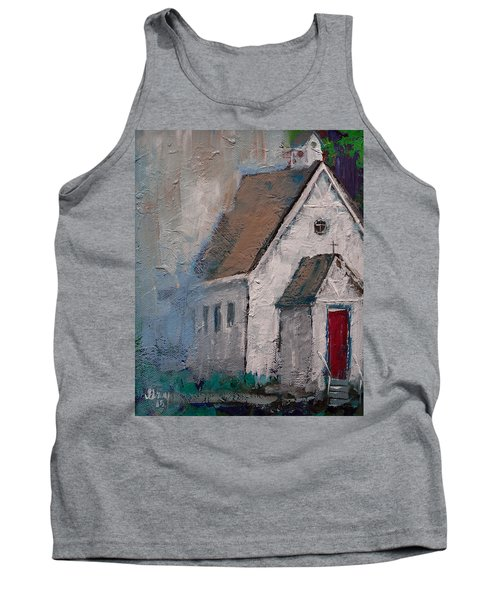 Little White Church On The Corner Christian Painting  Tank Top