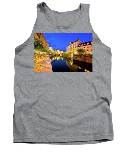Ljubljanica River Waterfront In Ljubljana Evening View Tank Top by Brch Photography