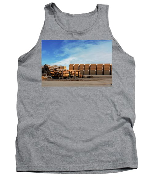 Logs And Plywood At Lumber Mill Tank Top