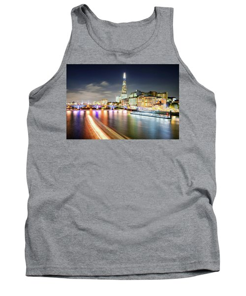 London At Night With Urban Architecture, Amazing Skyscraper And Boat At Thames River, United Kingdom Tank Top