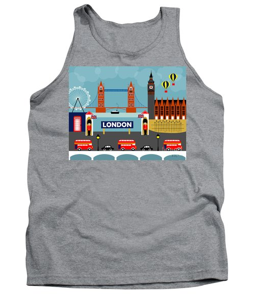 London England Horizontal Scene - Collage Tank Top
