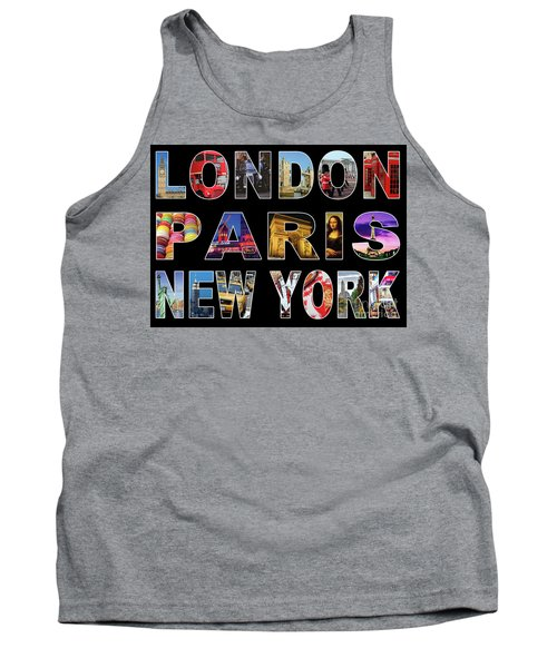 Tank Top featuring the digital art London Paris New York, Black Background by Adam Spencer