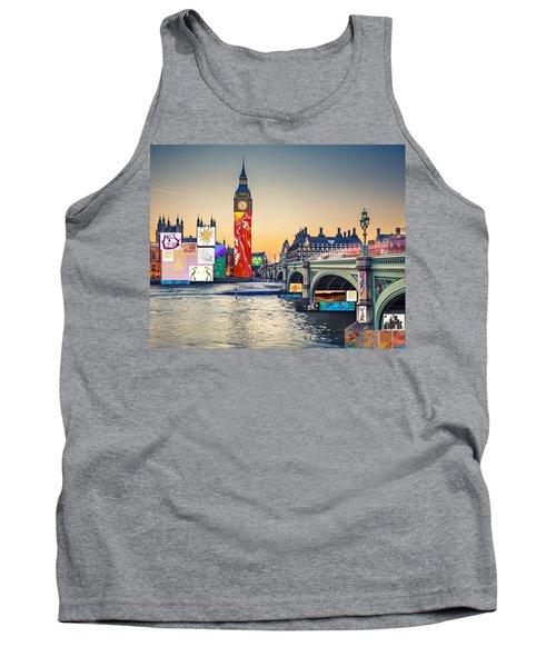 London Skyline Collage 3 Inc Big Ben, Westminster  Tank Top