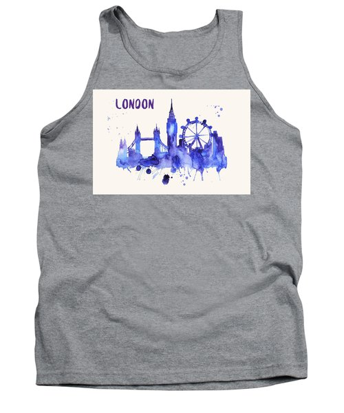 London Skyline Watercolor Poster - Cityscape Painting Artwork Tank Top