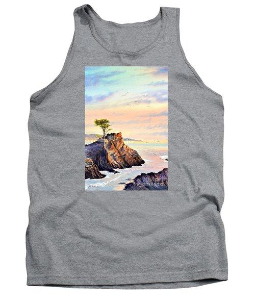 Lone Cypress Tree Pebble Beach Tank Top by Bill Holkham