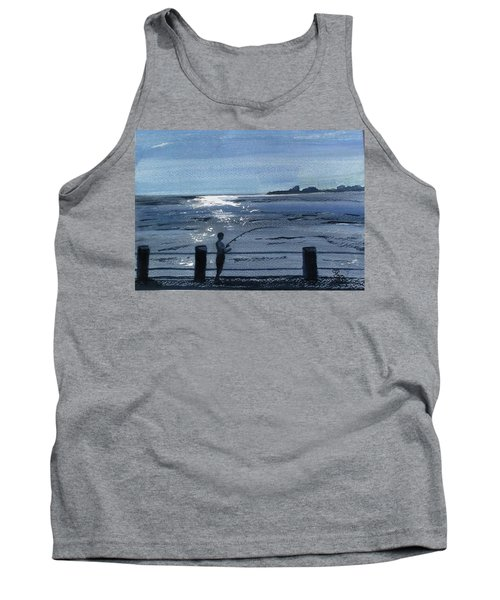 Lone Fisherman On Worthing Pier Tank Top by Carole Robins