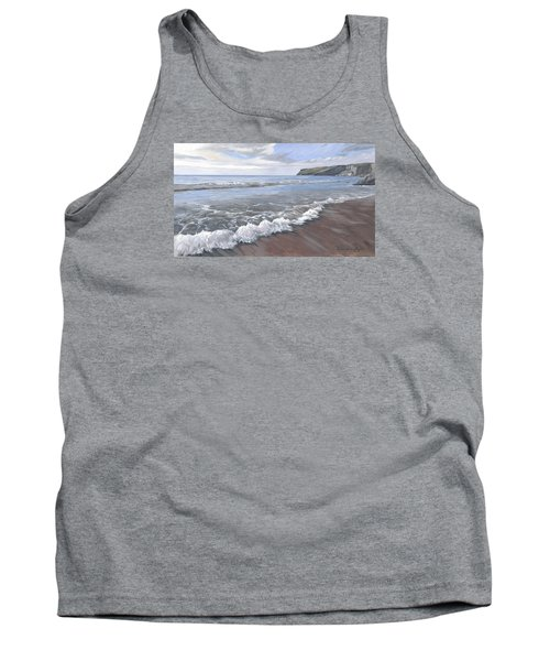 Tank Top featuring the painting Long Waves At Trebarwith by Lawrence Dyer