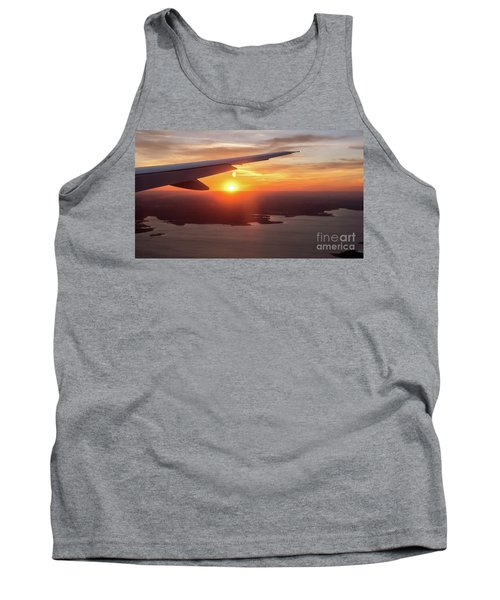 Looking At Sunset From Airplane Window With Lake In The Backgrou Tank Top