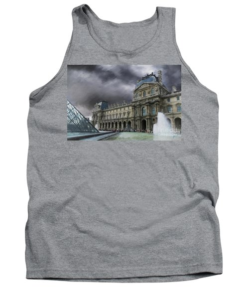 Tank Top featuring the mixed media Louvre by Jim  Hatch