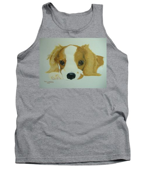 Tank Top featuring the painting Lovable Puppy by Norm Starks