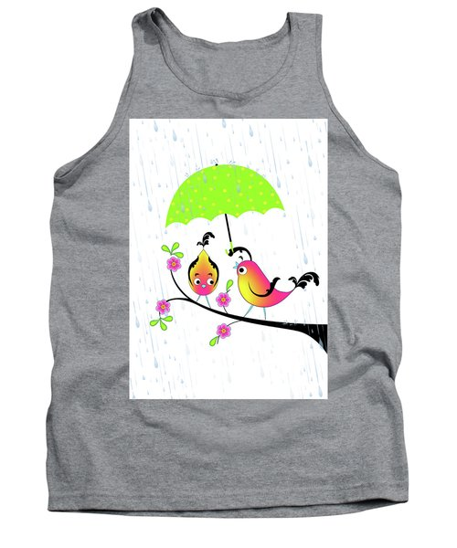 Love Birds In Rain Tank Top