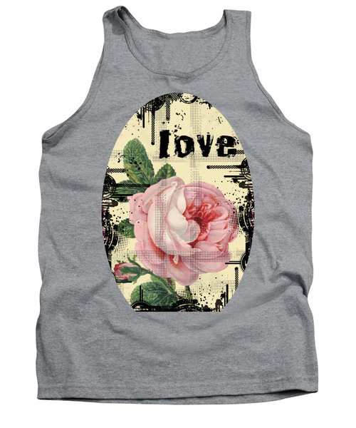 Tank Top featuring the digital art Love Grunge Rose by Robert G Kernodle