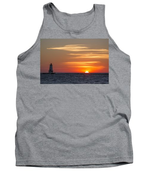 Tank Top featuring the photograph Ludington North Breakwater Light At Sunset by Adam Romanowicz