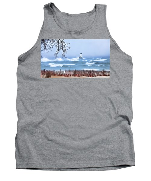 Ludington Winter Shore  Tank Top by Dick Bourgault