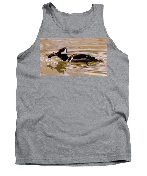Tank Top featuring the photograph Lunchtime For The Hooded Merganser by Randy Scherkenbach