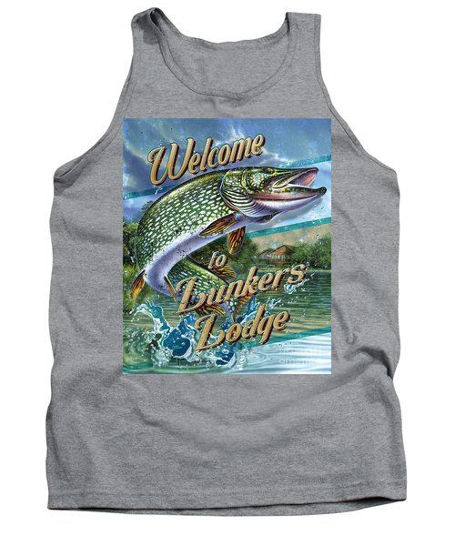 Lunkers Lodge Sign Tank Top by Jon Q Wright