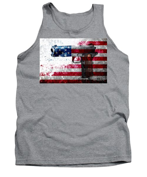 M1911 Colt 45 And American Flag On Distressed Metal Sheet Tank Top by M L C