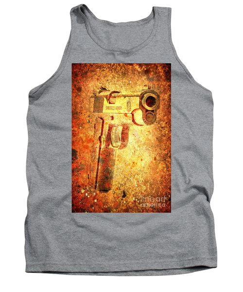 M1911 Muzzle On Rusted Background 3/4 View Tank Top by M L C