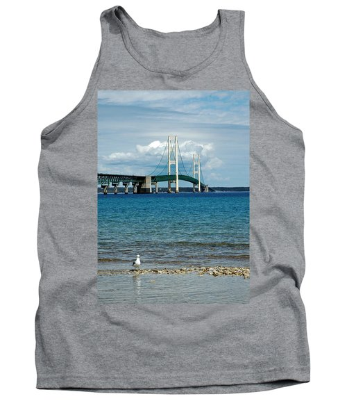 Tank Top featuring the photograph Mackinac Bridge With Seagull by LeeAnn McLaneGoetz McLaneGoetzStudioLLCcom