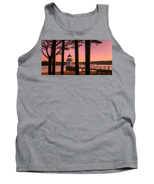 Maine Doubling Point Lighthouse At Sunset Panorama Tank Top