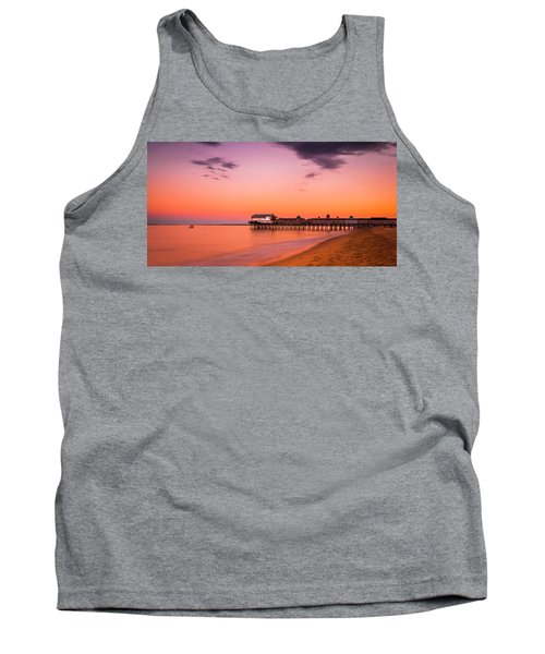 Maine Old Orchard Beach Pier At Sunset Tank Top